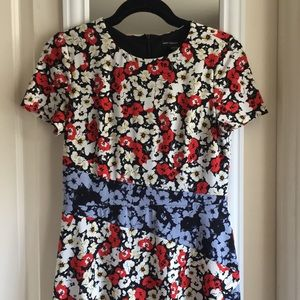 Maggy London Short Sleeve Mixed Print Floral Dress
